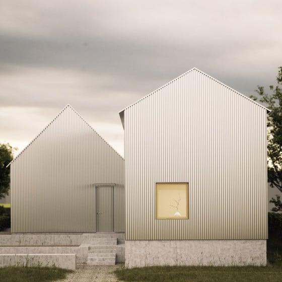 Fachada posterior de casa revestida de aluminio