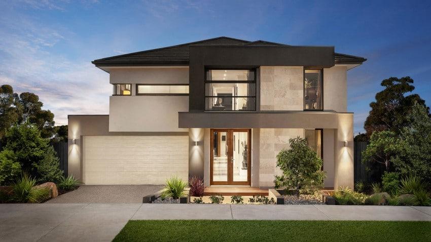Casa de dos pisos moderna fachada y dise o de interiores construye hogar for Diseno de interiores de casas de dos plantas