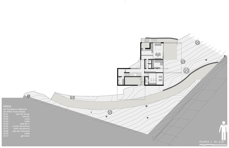 Dise o de casa moderna en la monta a construida en for Planos de casas de campo modernas