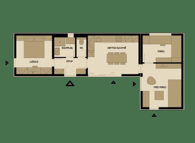 Plano de casa prefabricada en forma de l construye hogar for Planos para construccion casas pequenas