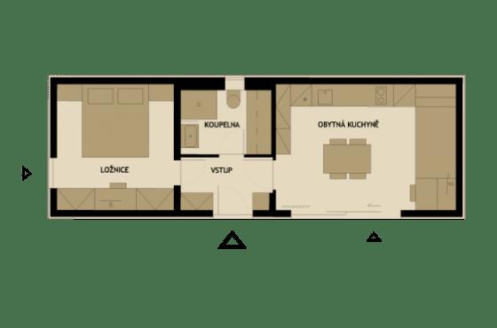 Plano de planta de casa pequeña de madera