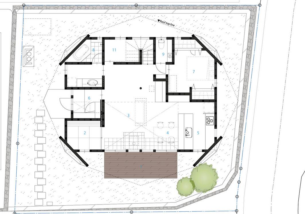 Casa de dos pisos con techo tipo origami para protecci n - Plano de la casa ...