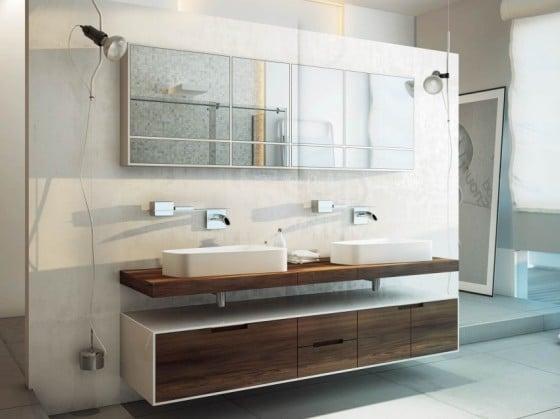 Lavatorios con mueble de madera y espejo