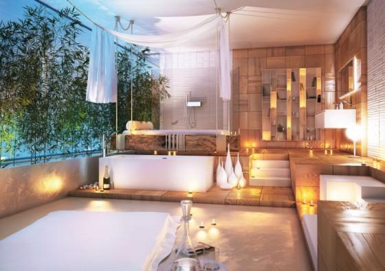 Decoración de baño moderno especial para relajarse