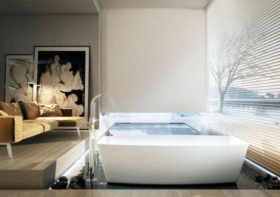 Decoración de baño moderno con obras de arte