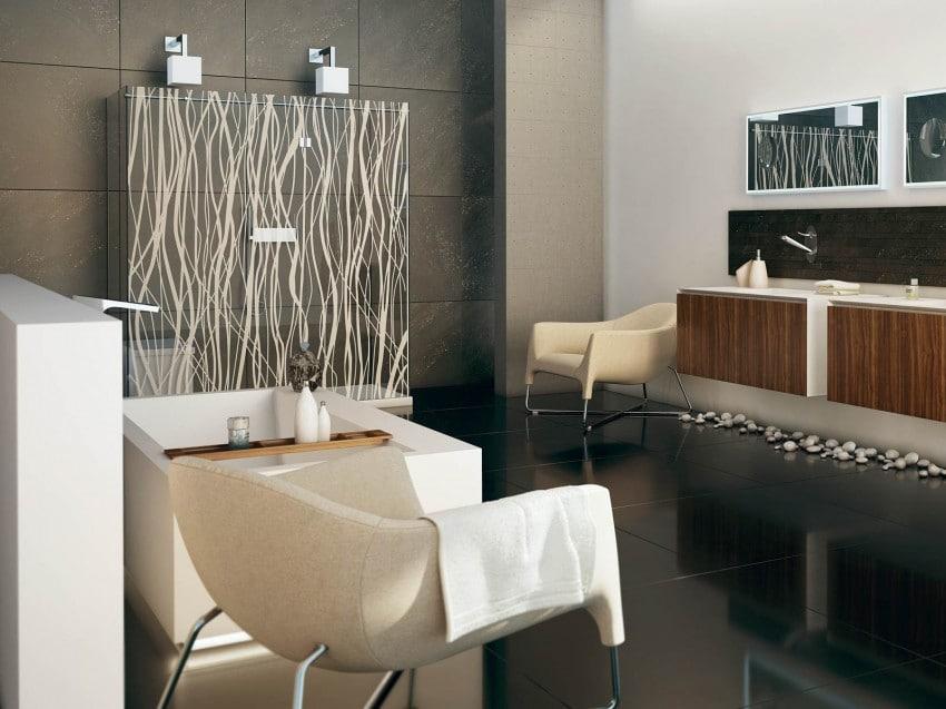 decoracin de cuarto de bao con muebles y accesorios modernos
