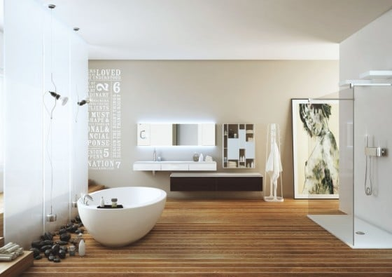 Decoración de baño con arte