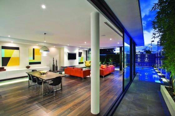 Decoración de interiores de sala y comedor moderno