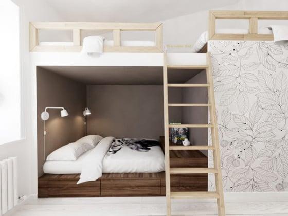 Diseño de cama camarote juvenil