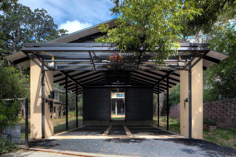 Dise o de garage cochera en exteriores de casa for Garajes originales