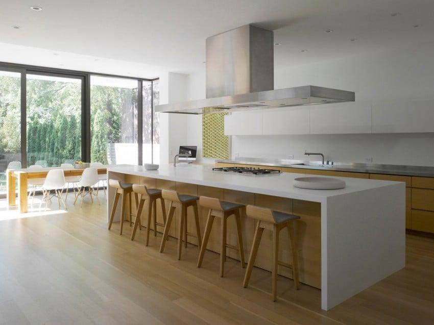 Dise o de casa moderna de dos pisos fachada e interiores for Taburetes de cocina de diseno