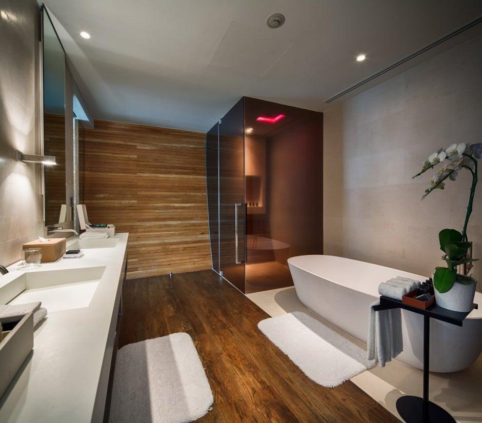 diseo de amplio cuarto de bao moderno