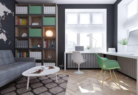Diseño de cuarto de estudio para jóvenes