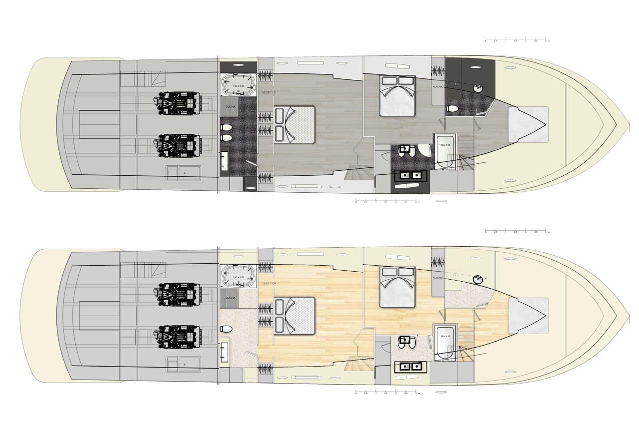 Baño Pequeno E Irregular:Diseño de planos de distribución de un moderno barco