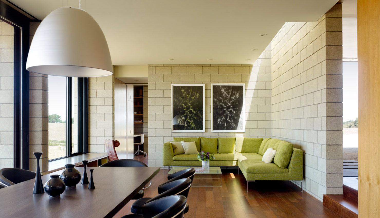 Dise o de casa moderna de un piso de ladrillo caravista for Diseno de interiores modernos casas