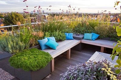Small garden design on the roof of a house