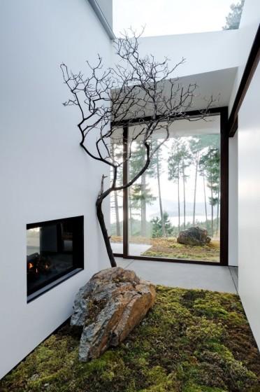 Diseño de jardín interior en casa de campo