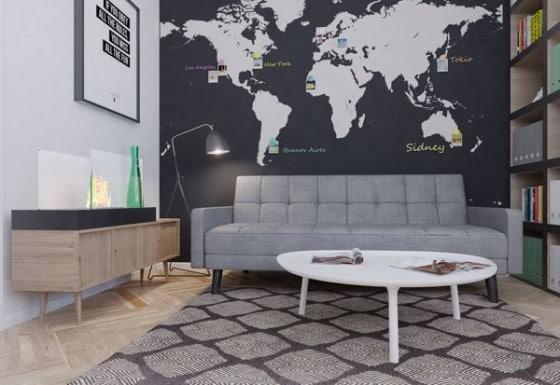 Diseño de juvenil cuarto de estudio con pared mapamundi