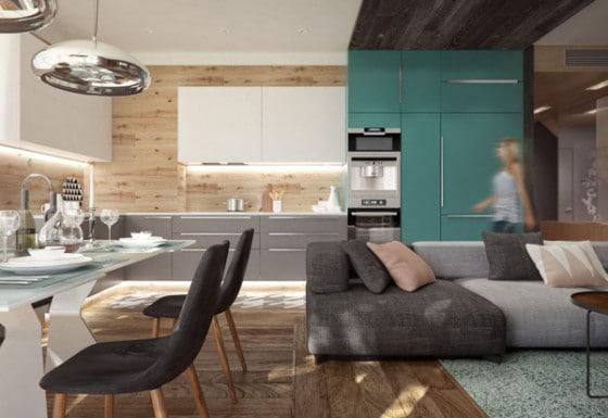 Diseño de moderna cocina comedor con dos lámparas de techo en barra