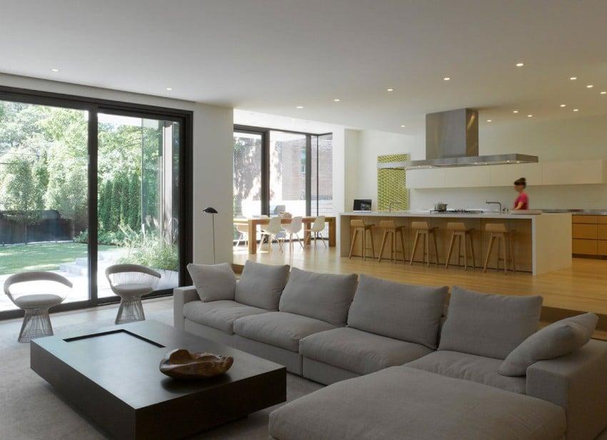 Dise o de casa moderna de dos pisos fachada e interiores for Salas modernas de casas