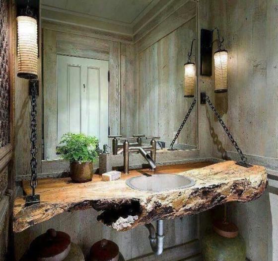 Diseño original de cuarto de baño con lavatorio de madera