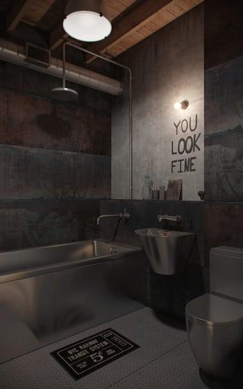 Diseño original de cuarto de baño de estilo industrial con sanitarios de acero