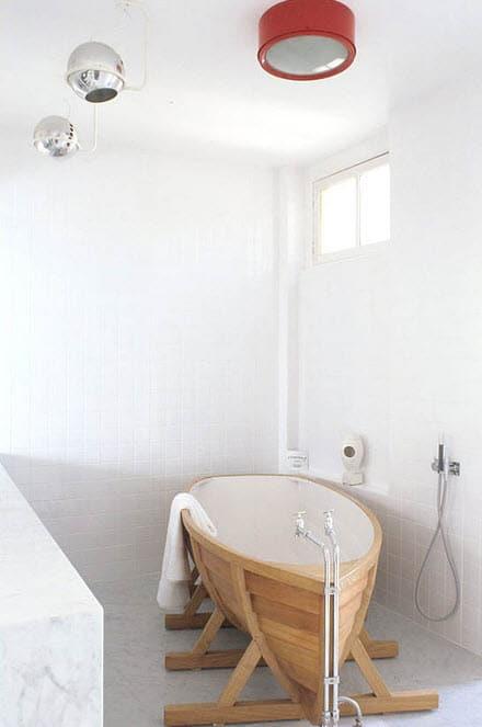 Tinas De Baño Rusticas:Diseño original de cuarto de baño con tina en forma de barco
