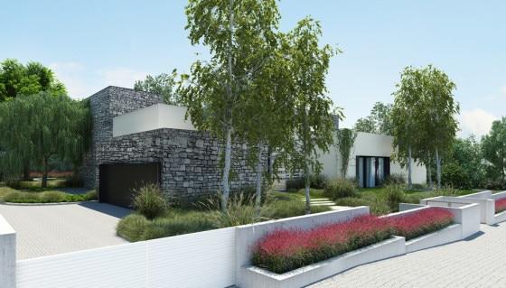 Moderna fachada de casa de un piso con cerco perimétrico y jardineras