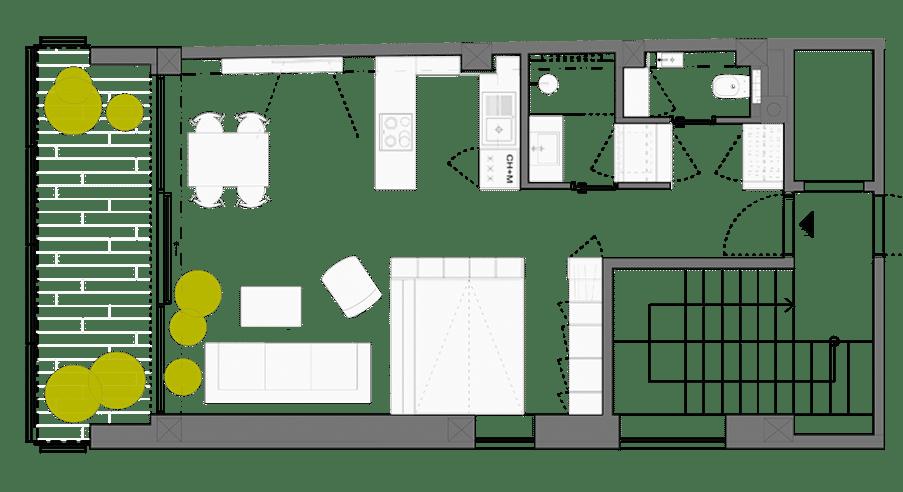 dise o de plano de apartamento peque o de un dormitorio