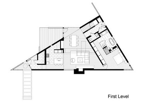Plano de casa en terreno triangular 1