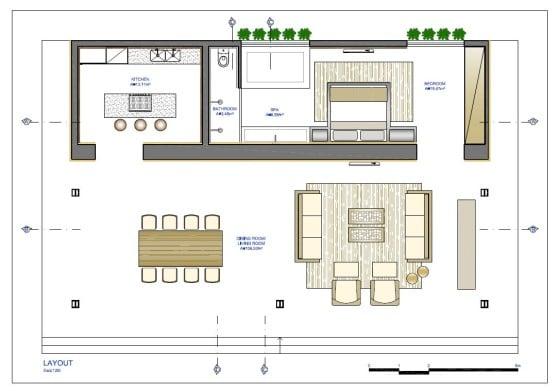 Plano de casa pequeña con un dormitorio y amplia sala comedor
