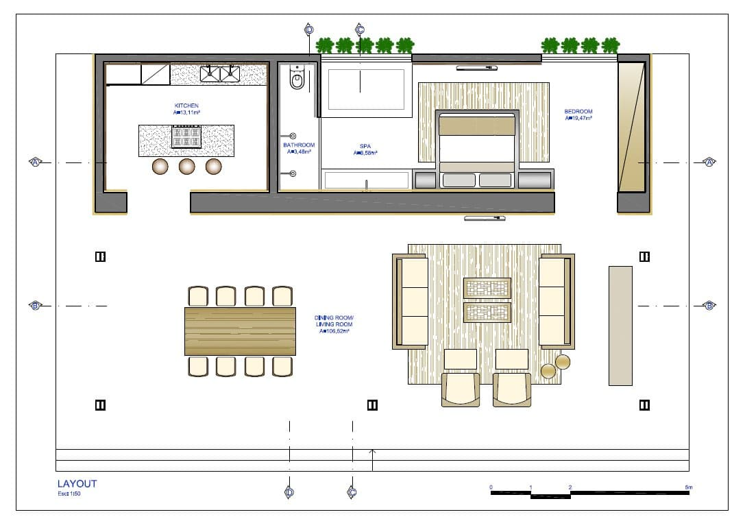 Planos de casa peque a de un dormitorio fachada e for Planos para cocinas pequenas