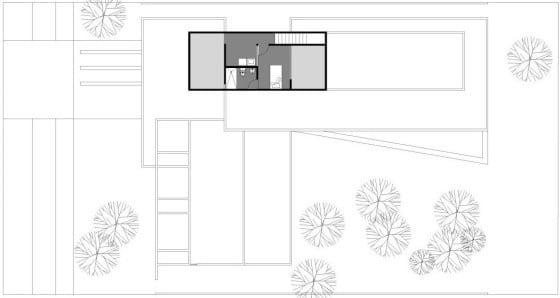 Plano de dormitorio en el  sótano de casa en forma de L