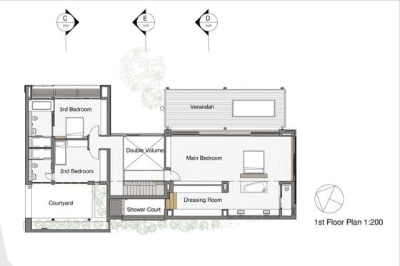 Plano del segundo piso de la moderna vivienda