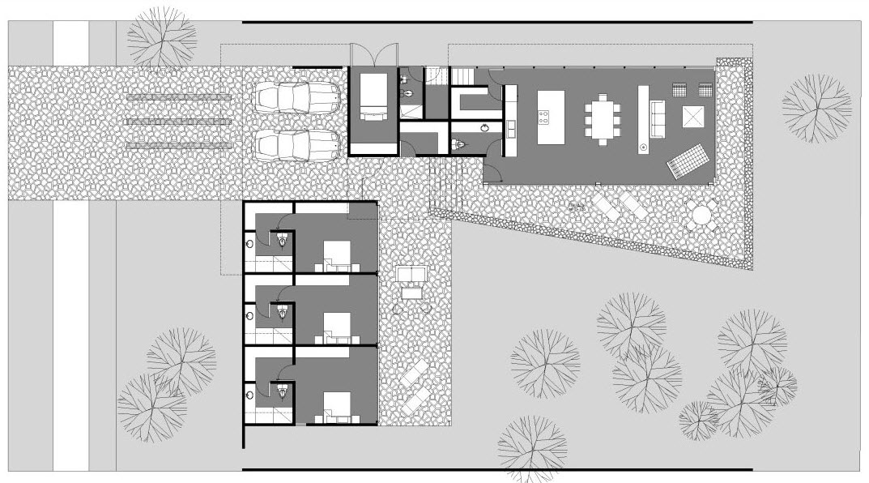 Dise o de casa en forma de l moderna fachada e interiores for Plano casa un piso