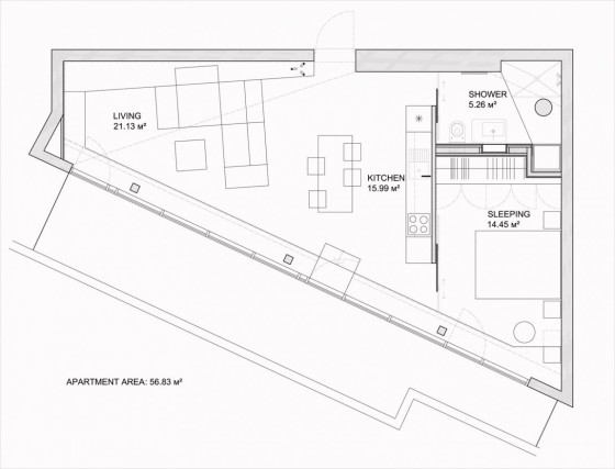 Planos de casa terreno irregular de forma triangular