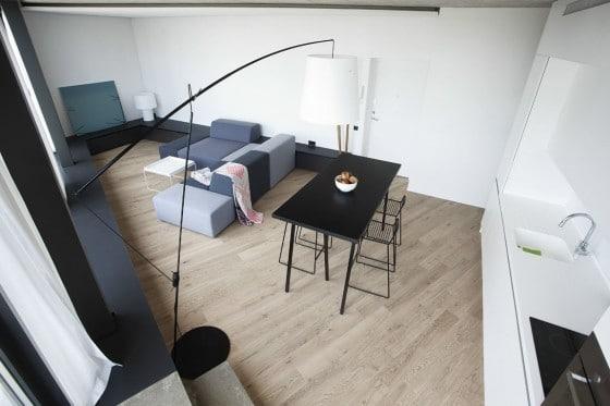 Vista aérea de sala comedor cocina triangular