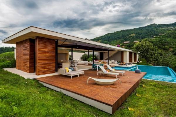 Planos de casa de campo de un piso moderno dise o for Casa minimalista con piscina