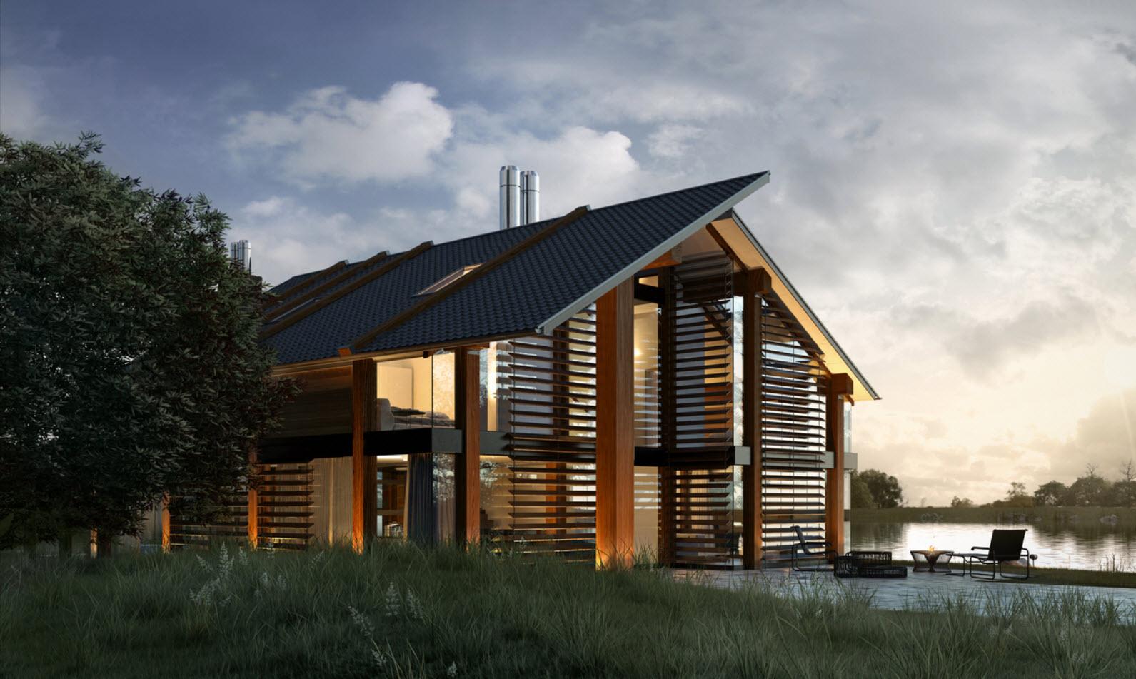 Dise o de casa de madera moderna hermosa fachada for Casas modernas 4 aguas