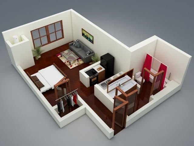 Planos de apartamentos peque os de un dormitorio dise os for Cocinas para apartaestudios