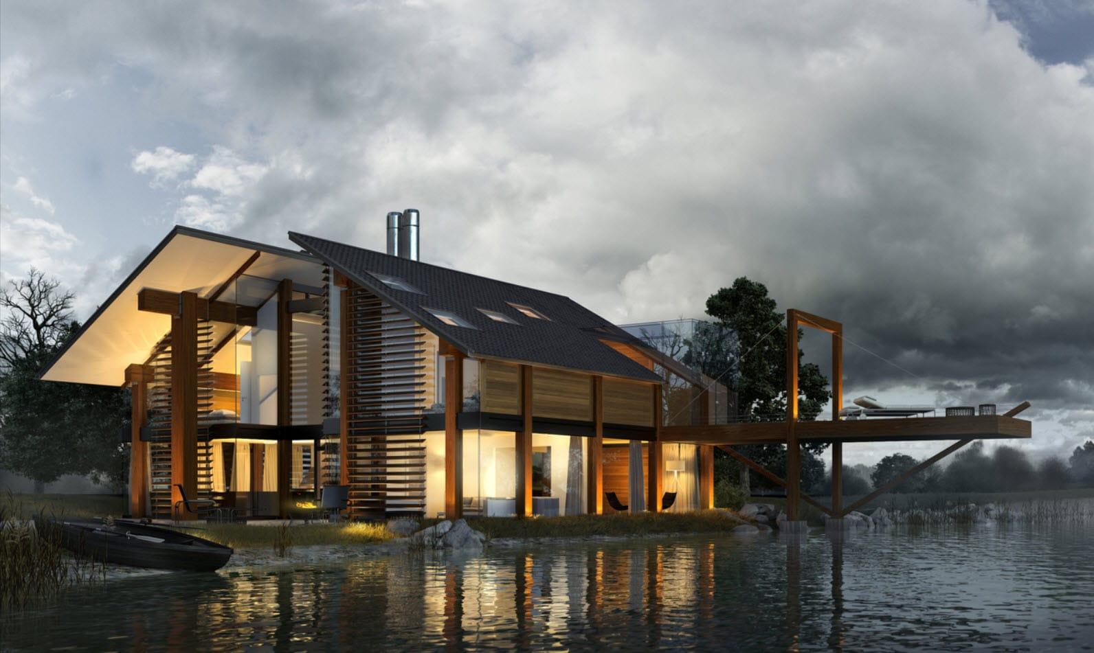 Dise o de casa de madera moderna hermosa fachada for Casa moderna a dos aguas