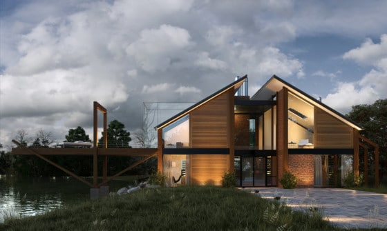Dise o de casa de madera moderna hermosa fachada - Como se construye una casa de madera ...