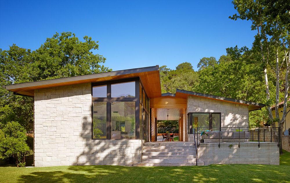 Dise o de casa de un piso con fachada en piedra y madera - Cambiar piso por casa ...