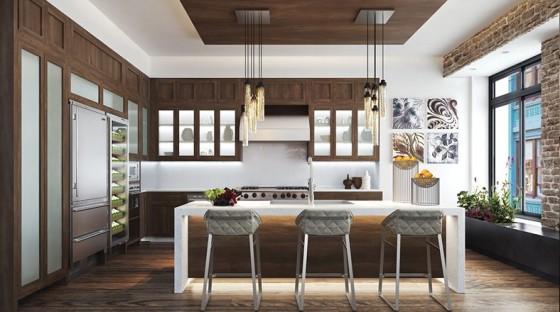 Diseño de cocina comedor de apartamento lujoso