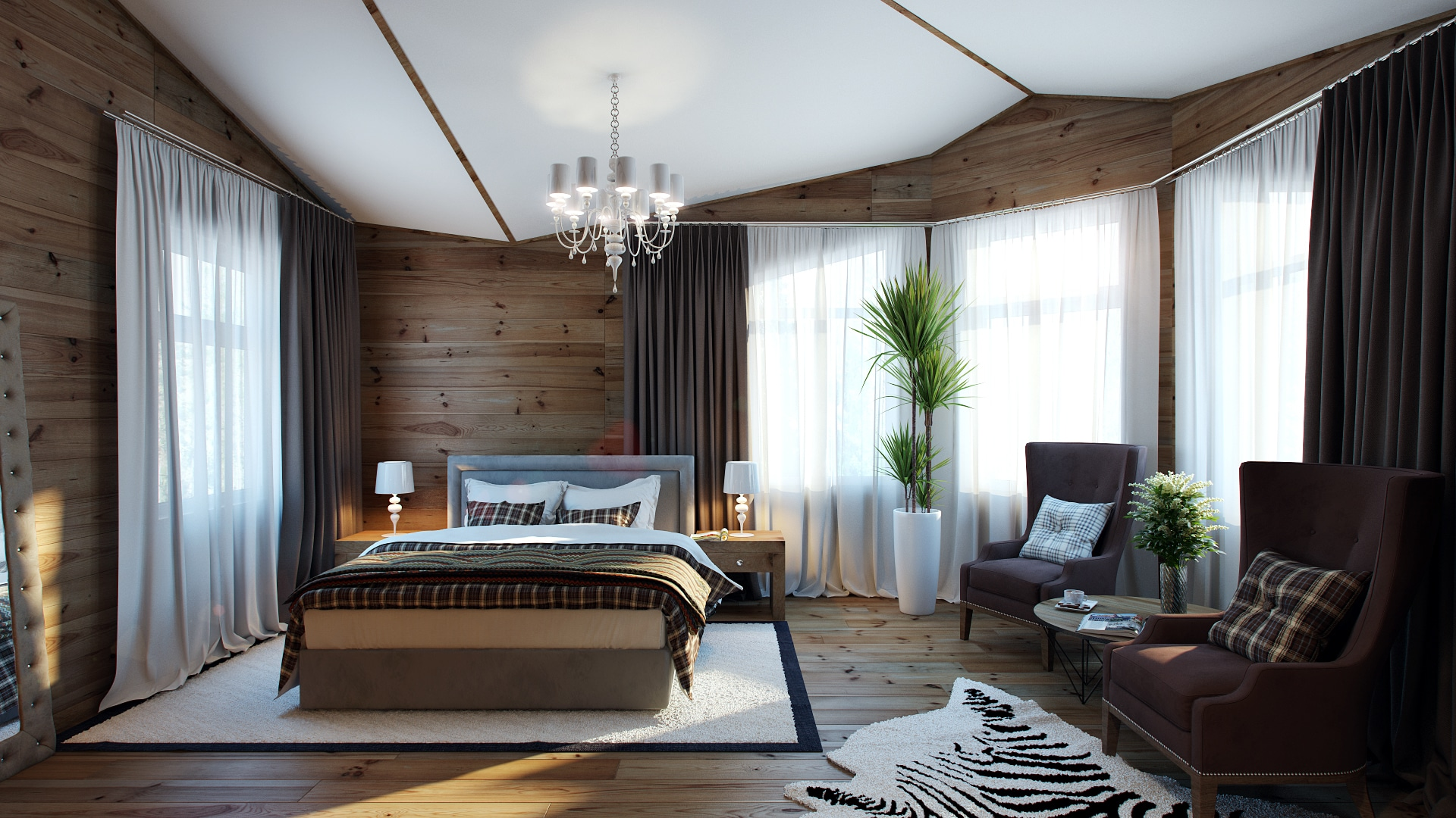 Dise o de dormitorio con paredes y piso de madera pavel for Disenos de paredes para dormitorios
