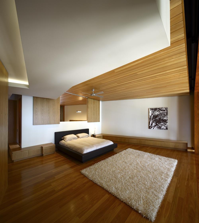 Dise o de casa moderna de dos plantas fachada e - Techo de madera interior ...