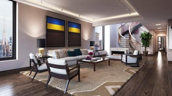 Diseño de sala de lujo de apartamento de Leonardo DiCaprio