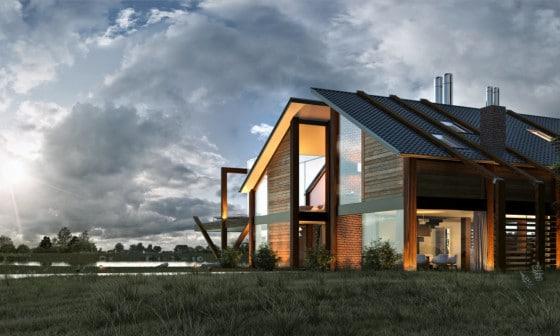 Fachada de casa de madera moderna