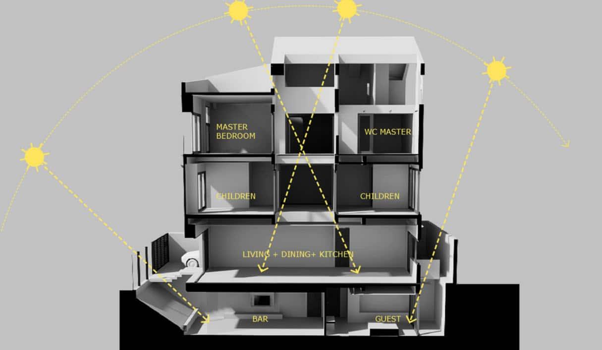 Dise o de casa moderna de tres pisos planos y fachada for Casa moderna maqueta