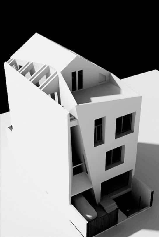 Dise o de casa moderna de tres pisos planos y fachada for Casa minimalista maqueta
